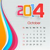 New Year 2014 October month calendar.