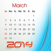 New Year 2014 March month calendar.