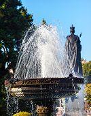 Fountain Queen Statiue Provincial Capital Legislative Buildiing Victoria British Columbia Canada