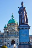 Provincial Capital Legislative Buildiing Queen Statue Victoria British Columbia Canada