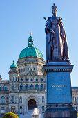 Provincial Capital Legislative Buildiing Queen Statue Victoria British Columbia Canada