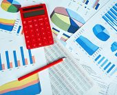 Calculator and office objects. Accounting and financial service.