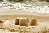 Sandcastles as the beach