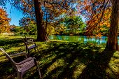 stock photo of guadalupe  - Relaxing Lawn Chairs with Beautiful Fall Foliage On The Guadalupe River - JPG