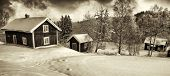 old rural winter scenery, cottages, winter and snow, sweden