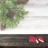 Christmas Wooden Table Festive Tableware