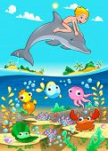 Boy and dolphin with fish under the sea. Funny cartoon vector illustration