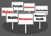 stock photo of menstruation  - Menopause concept signs with text red and black - JPG
