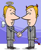 stock photo of lobbyist  - Concept Cartoon Illustration of Angel and Devil Businessmen or Politicians Shaking Hands - JPG