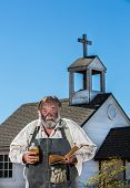 Old West Drunkard Holds Bible