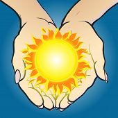 hands holding sun and giving it.