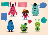 picture of freaky  - Vector Hipster Monsters Set with Speech Bubbles Illustration - JPG
