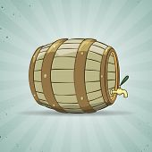 stock photo of spigot  - Illustration of an old wooden barrel filled with natural wine or beer - JPG