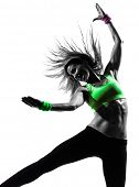one caucasian woman exercising fitness dancing in silhouette on white background