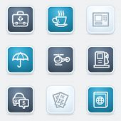 Travel web icon set 4, square buttons