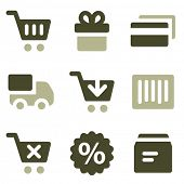 Shopping web icons, olive set
