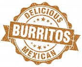 Delicious Burritos Brown Vintage Seal Isolated On White