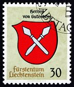 Postage Stamp Liechtenstein 1965 Arms Of Lords Of Gutenberg