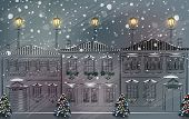 Snowy old town at Christmas