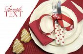Beautiful Red Theme Festive Christmas Dining Table Place Setting With Happy Holiday Ornaments And De