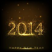 Happy New Year 2014 celebration flyer, banner, poster or invitation with shiny golden text on brown background.