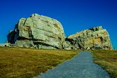 stock photo of errat  - Okotoks erratic tourist attraction in Alberta near Calgary - JPG
