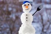 Little Happy Christmas Snowman With Fork Outdoor. Winter Season.