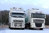 Volvo FH And DAF XF Trucks In Winter Snow