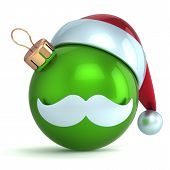 Christmas ball ornament Santa Claus hat New Year bauble green decoration