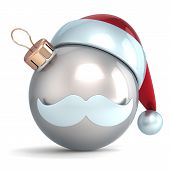 Christmas ball ornament Santa Claus hat New Year bauble silver chrome decoration happy emoticon