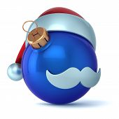 Christmas ball Santa Claus hat New Years Eve bauble ornament blue decoration happy emoticon