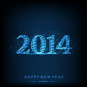 Happy New Year 2014 celebration flyer, banner, poster and invitation with shiny text blue background.