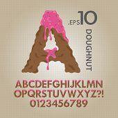 Creamy Doughnut Alphabet And Numbers Vector