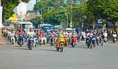 HO CHI MINH-NOVEMBER 17: Traffic jam in Saigon, Vietnam. In the biggest city in Vietnam are more than 4 mil. motorbikes, the traffic is often congested. November 17, 2013, Saigon, Vietnam