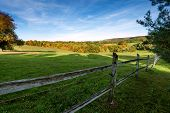 Wooden fence on nice green meadow