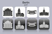 Landmarks of Berlin. Set of monochrome icons. Raster illustration.