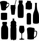 Vector Isolated Silhouettes Drink Containers