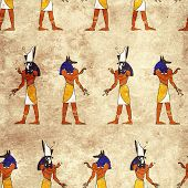 stock photo of horus  - Seamless background with Egyptian gods images  - JPG