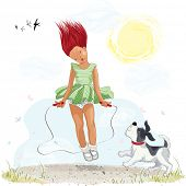 Little girl jumping with skipping rope