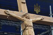 KIEV, UKRAINE - APR 19, 2014: Second crucifixion of Jesus.Burned downtown of Kiev.Rioters camp. Putsch of junta in Kiev and Western Ukraine.April 19, 2014 Kiev, Ukraine