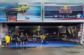PUTRAJAYA, MALAYSIA - MAY 17, 2014: The Edge 540 V3 plane of Kirby Chambliss of USA parks at the hangar before the race during the Red Bull Air Race World Championship 2014 in Putrajaya, Malaysia.
