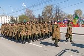 Military force uniform soldier row march