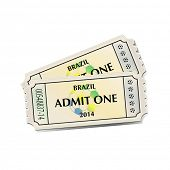 A pair of tickets for Brazil 2014 football. EPS10 vector format.