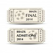 A pair of retro style tickets for Brazil 2014 football. EPS10 vector format.