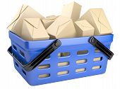 image of movable  - Shopping cart full with boxes - JPG