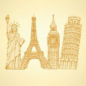 Sketch Eifel Tower, Pisa Tower, Big Ben And Statue Of Liberty, Vector Background