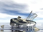 Fishing boat sinking - 3D render
