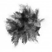 Freeze motion of black dust explosion isolated on white background
