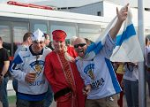 The hockey fans from Russia and Finland