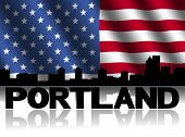 Portland skyline and text reflected with rippled American flag illustration